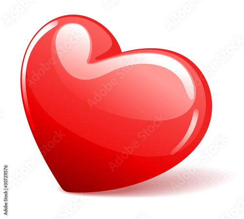 Red heart shape valentines day vector illustration isolated on white backgrond