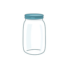 Empty Glass Jar Vector Illustr...
