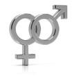 Leinwanddruck Bild - Heterosexual symbol 3d render. Silver heterosexual symbol isolated on white background.