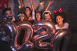 canvas print picture - Friends holding 2020 balloons at New Years party