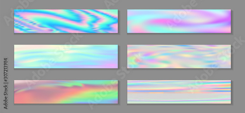 Fotografie, Obraz  Neon holo stylish banner horizontal fluid gradient princess backgrounds vector set