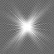 White beautiful light explodes with a transparent explosion. Vector, bright illustration for perfect effect with sparkles. Bright Star. Transparent shine of the gloss gradient, bright flash.
