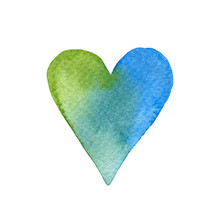 Watercolor Heart In The Colors...