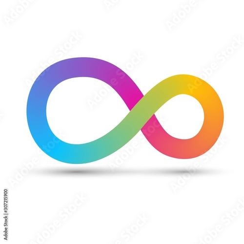 Colorful infinity sign with stripes, rainbow gradient swirling ring Wallpaper Mural