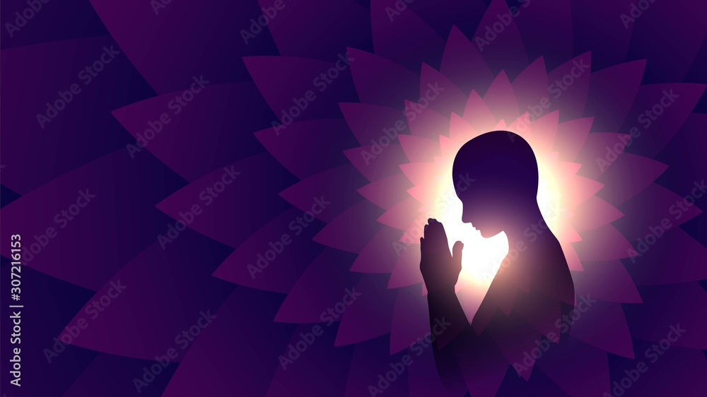 Fototapeta Black silhouette of a praying person, a Buddhist on a background of bright light, a man meditating