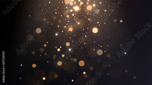 Obraz Vector background with golden bokeh, falling golden sparks, dust glitter, blur effect - fototapety do salonu