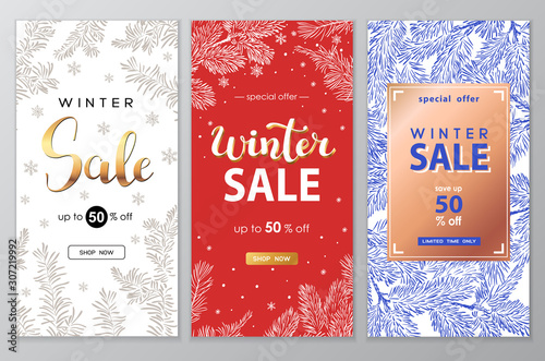 Fototapeta Winter sale vector poster set with discount text and snow elements for shopping promotion. obraz
