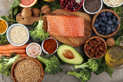 Canvastavla Healthy food clean eating selection: fish, fruit, vegetable, cereal, leaf vegeta