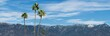Panoramic image showing the snow-dusted San Gabriel Mountains taken from Pasadena in Los Angeles County.