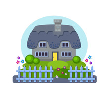 Vector House With A Thatch, A Lawn And A Fence In Front. Cute Yard. Cozy Home In Blue Colors. Warm Village Illustration. Summer Landscape