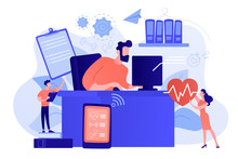 Businessman Working At Smart Desk Controlling His Heart Rate And Position Change. IOT Office Desk, Health Tracking, Working Activity Place Concept. Pinkish Coral Bluevector Isolated Illustration