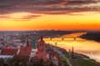 Old town of Grudziadz and the Vistula River at sunset. Kuyavian-Pomeranian Voivodeship, Poland.