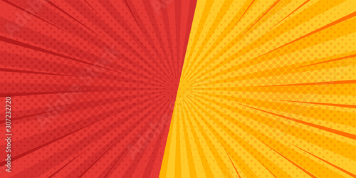 Obraz na plátně Comic radial speed lines background. Vector illustration.