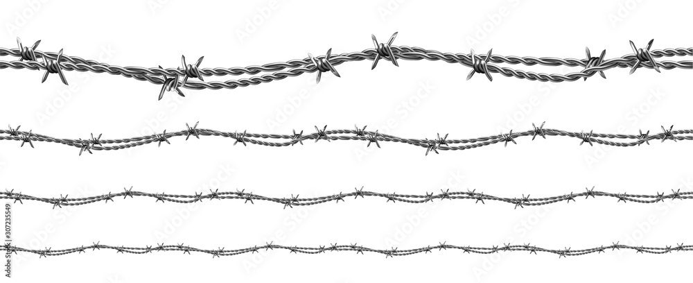 Fototapeta Twisted Barbed Wire Seamless Pattern Set Vector. Collection Of Modern Flexible Metal Wire. Industrial Cord With Spikes For Security And Safety Forbidden Areas Layout Realistic 3d Illustrations