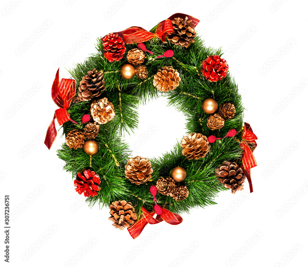 Fototapeta Christmas wreath isolated on white background traditional handmade design