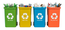 Set Of Recycling Trash Cans Wi...