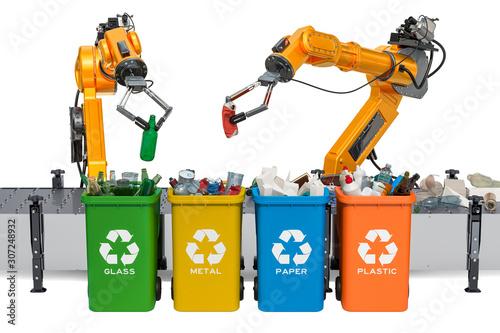 Robotic arms sorting garbage, automatic sorting of trash Wallpaper Mural