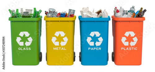 Fototapety, obrazy: Set of recycling trash cans with glass, paper, metallic and plastic waste, 3D rendering