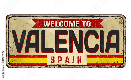 Welcome to Valencia vintage rusty metal sign Canvas Print