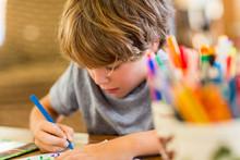 6 Year Old Boy Drawing Amoung ...