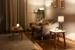 Leinwandbild Motiv Stylish interior of living room at night
