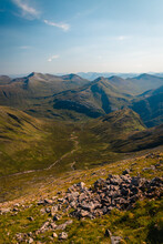Ben Nevis Panorama View In Bright Summer Day In Scotland, Near Fort Williams