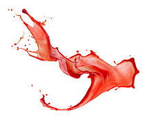 Red Juice Splash Isolated On A White Background