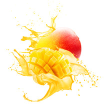 Mango In Juice Splash Isolated...