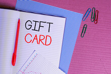 Writing Note Showing Gift Card. Business Concept For A Present Usually Made Of Paper That Contains Your Message Striped Paperboard Notebook Cardboard Office Study Supplies Chart Paper