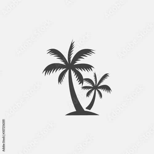 Photo Palm tree silhouette icon vector, Palm tree vector illustration, coconut tree ic