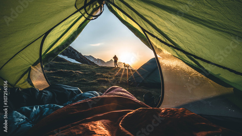 Canvas morning tent view
