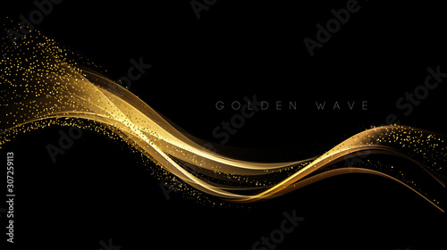 Abstract shiny color gold wave design element Wallpaper Mural