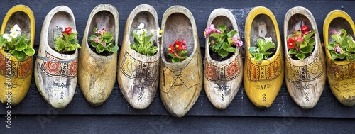 Obraz na plátne  Panoramic shot of beautiful flowers in clog shoes on a gray surface