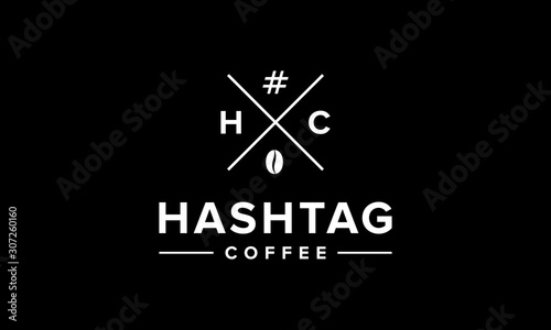 illustration logo from hashtag coffee logo design concept