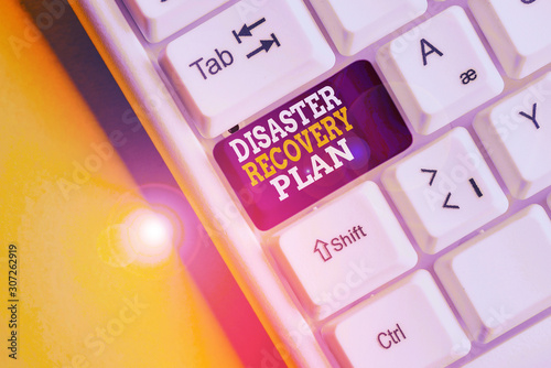Photo Writing note showing Disaster Recovery Plan