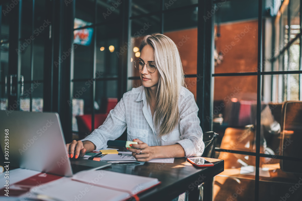 Fototapeta Blond woman using laptop in cafe