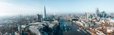 Fototapeta Londyn - Stunning panorama view over Thames river, the Shard, the London skyline and cityscape from the skyscraper. Aerial photo over the big city.