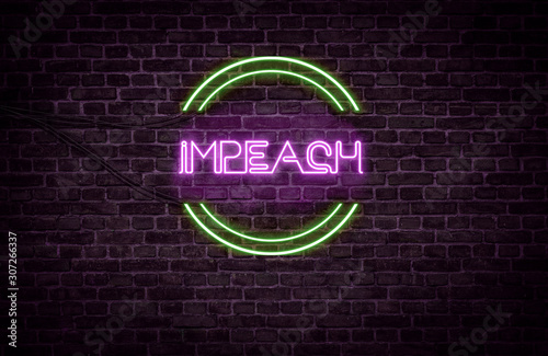 A green and purple neon light sign that reads: Impeach Canvas Print