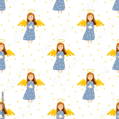 Photo Christmas cute angels seamless pattern