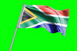 canvas print picture - South Africa Flag on Flagpole. Waving Rippled Flag Pole in the Wind.Design llustration in Silk Fabric Texture. Isolated on Chroma Key Green Screen Background