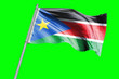 canvas print picture - South Sudan Flag on Flagpole. Waving Rippled Flag Pole in the Wind.Design llustration in Silk Fabric Texture. Isolated on Chroma Key Green Screen Background