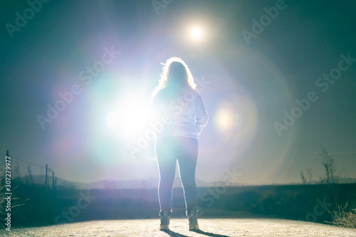 Photo Woman Silhouette with Alien Light