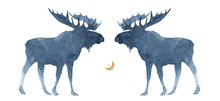 Watercolor Illustration Of A Silhouette Of Two Moose On A White Background