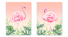 Set Of Beautiful Flamingo Rose...