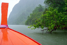 Red Wooden Boat Bow In Raining...