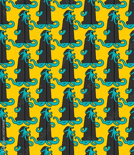 Fotografie, Tablou Cult Cthulhu pattern seamless