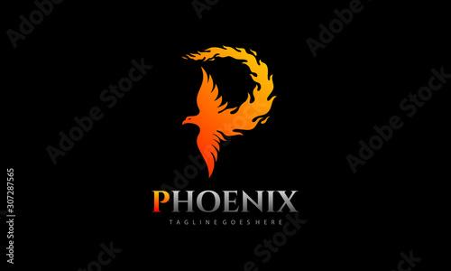 Letter P - Phoenix logo vector Wallpaper Mural