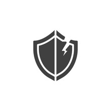 Broken Security Shield Vector Icon. Filled Flat Sign For Mobile Concept And Web Design. Data Unprotected Glyph Icon. Symbol, Logo Illustration. Vector Graphics