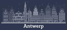Outline Antwerp Belgium City S...