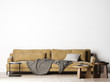 canvas print picture -  Living Room with cozy big sofa, Mock Up In Modern Interior Background, simple and clean furniture